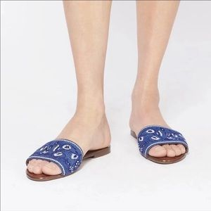 Veronica Beard Flor Embroidered Sandals New
